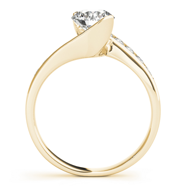 Swirl Semi Bezel Diamond Bridge Engagement Ring in Yellow Gold