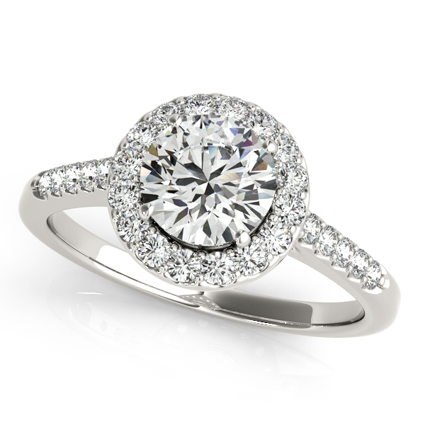 Diamond Halo Cathedral Engagement Ring Pave Band in White Gold