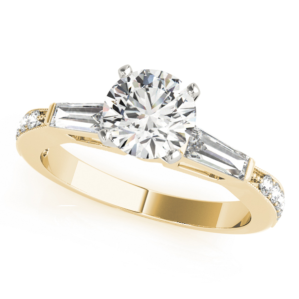 Diamond Engagement Ring with Baguette & Pave Diamonds in Yellow Gold