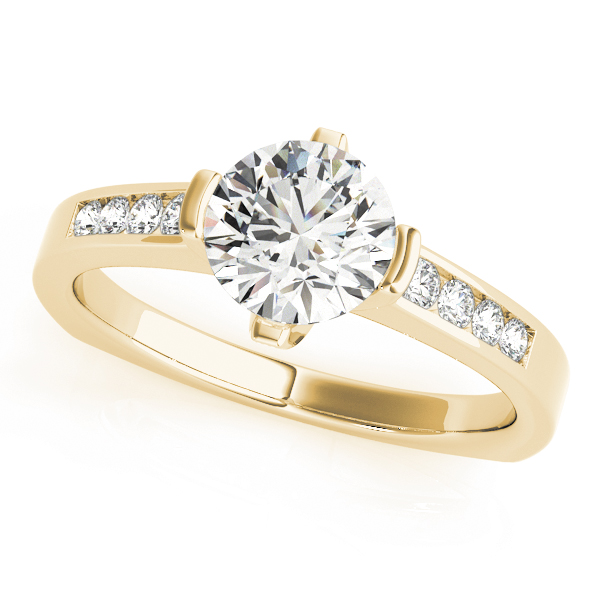 Diamond Channel Set Engagement Ring with Square Band in Yellow Gold