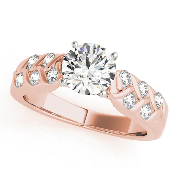 Floral Engraved Diamond Band Bridal Set in Rose Gold