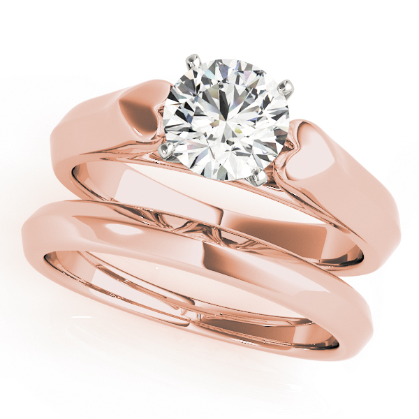 Heart Design Cathedral Solitaire Bridal Set with Knife Edge Band in Rose Gold