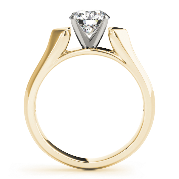 Heart Design Cathedral Solitaire Engagement Ring with Knife Edge Band in Yellow Gold