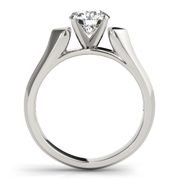 Heart Design Cathedral Solitaire Engagement Ring with Knife Edge Band