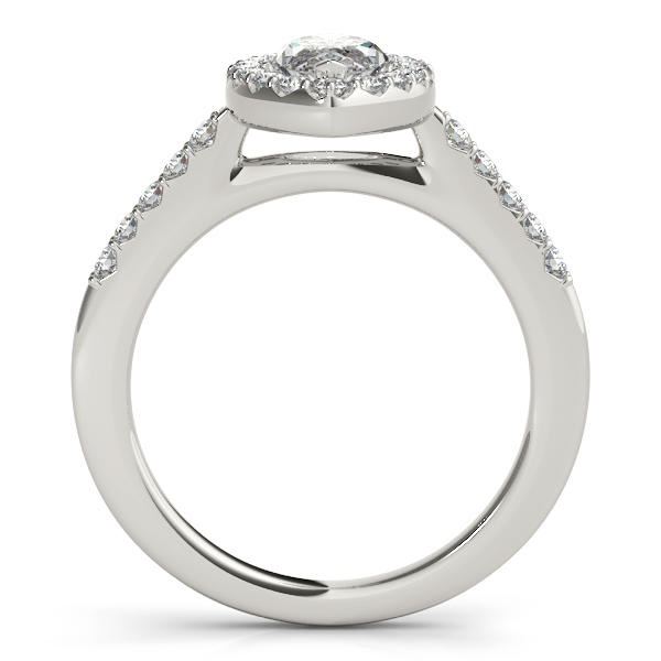 Marquise Diamond Halo Cathedral Engagement Ring Pave Band & Matching Wedding Band In 14K White Gold