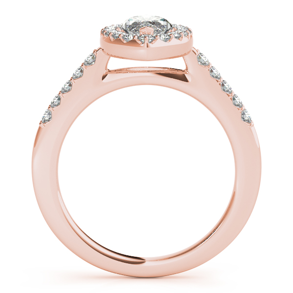 Marquise Diamond Halo Cathedral Engagement Ring Pave Band & Matching Wedding Band In 14K Rose Gold