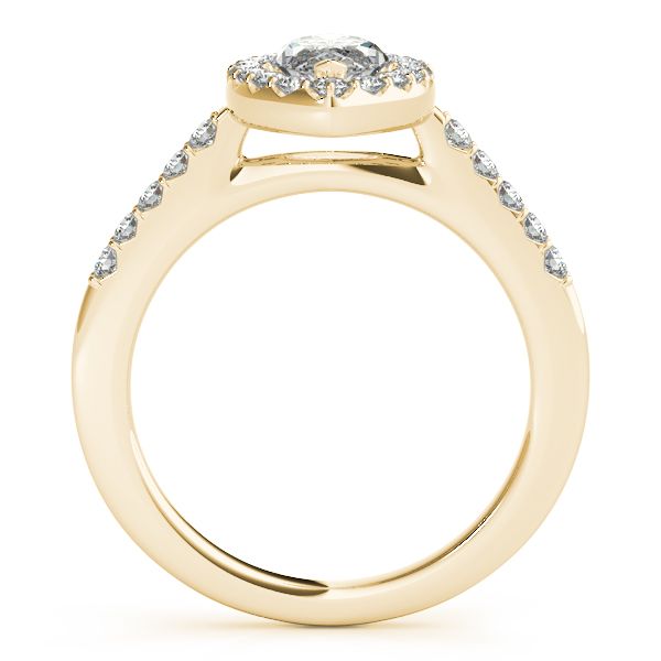 Marquise Diamond Halo Cathedral Engagement Ring Pave Band & Matching Wedding Band In 14K Yellow Gold