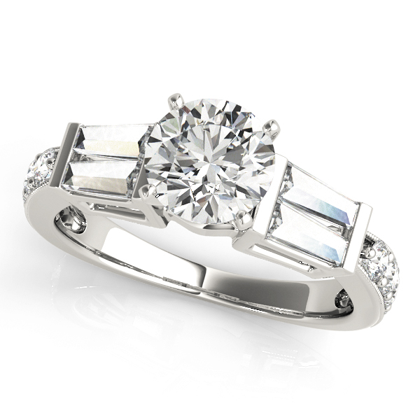 Diamond Engagement Ring with Double Baguettes & Pave Diamonds