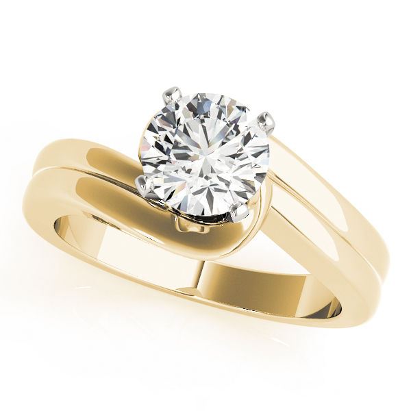 2 Band Swirl Solitaire Engagement Ring Yellow Gold