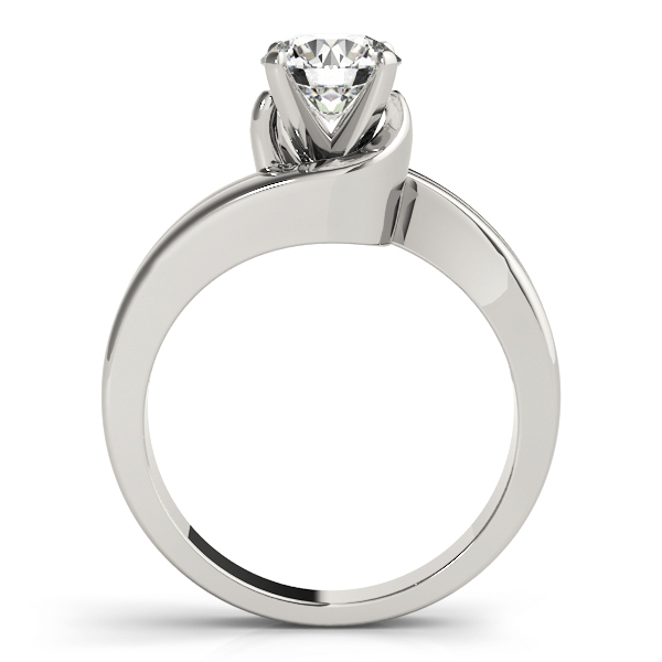 Double Band Swirl Solitaire Engagement Ring