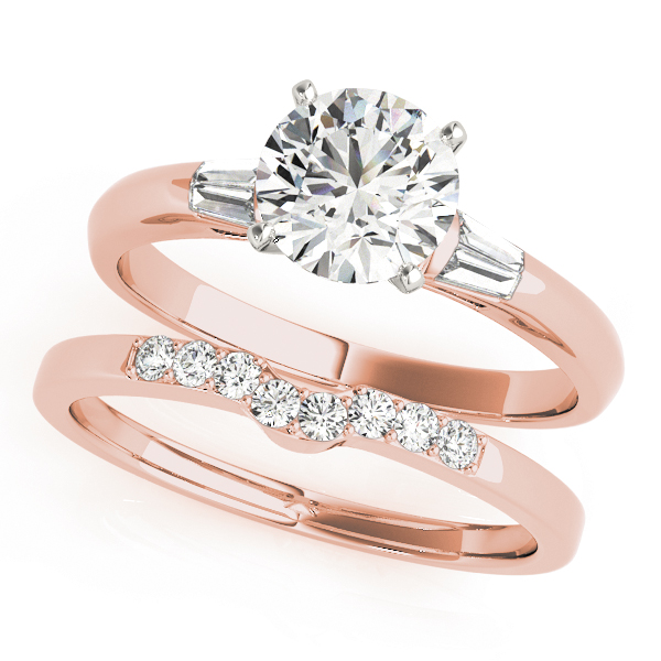 Classic Baguette & Round Cut Diamond Bridal Set in Rose Gold