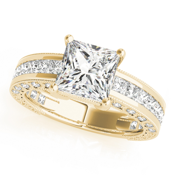 Vintage Princess Cut Diamond Engagement Ring with Filigree & Pave Accents in Yellow Gold
