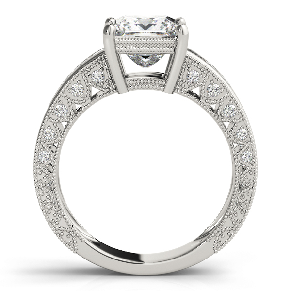 Vintage Princess Cut Diamond Engagement Ring with Filigree & Pave Accents