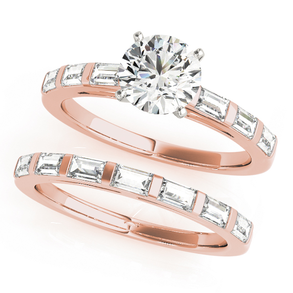 Classic Cathedral Baguette Cut Diamond Bridal Set in Rose Gold