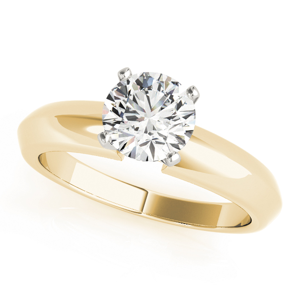 Classic Knife Edge Solitaire Engagement Ring in Yellow Gold