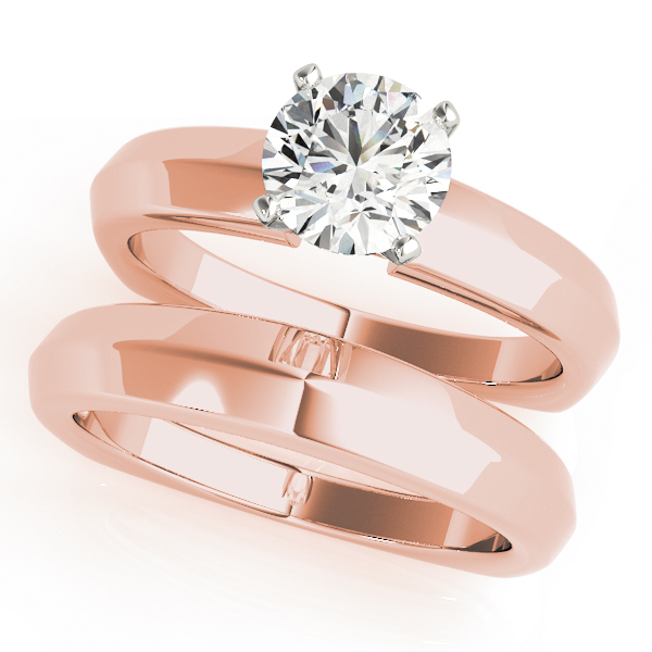 Classic Knife Edge Solitaire Bridal Set with Square Band in Rose Gold