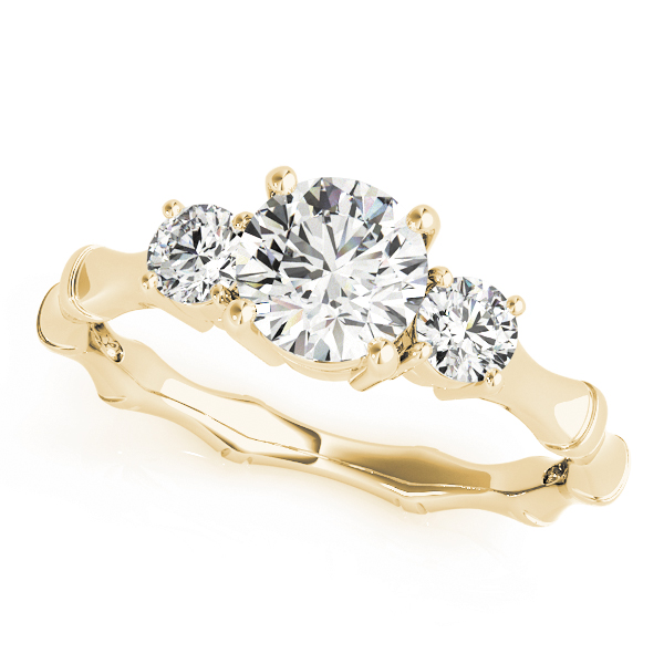 Three Stone Diamond Engagement Ring with Bamboo Band in Yellow Gold