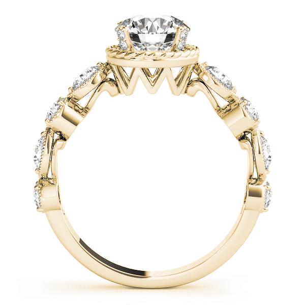 Swing Engagement Ring with Rope Halo, Diamond Accents, Yellow Gold
