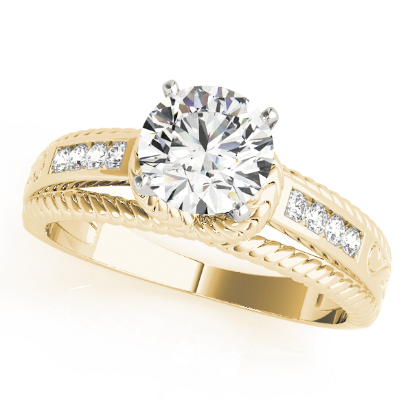 Rope Trellis Diamond Engagement Ring in Yellow Gold