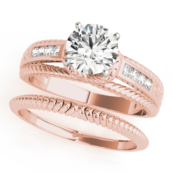 Rope Trellis Diamond Bridal Set in Rose Gold