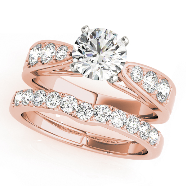 Classic Cathedral Tapered Band Diamond Bridal Set in Rose Gold