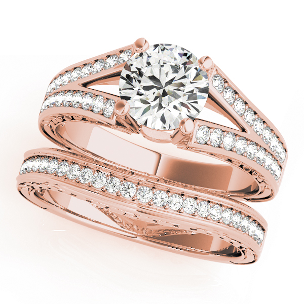 Pave Diamond Split Band Bridal Set with Engraving in Rose Gold