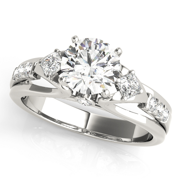 Three Stone Cathedral Swan Diamond Engagement Ring