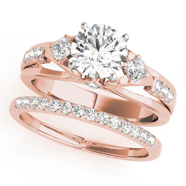 Three Stone Cathedral Swan Diamond Bridal Set in Rose Gold