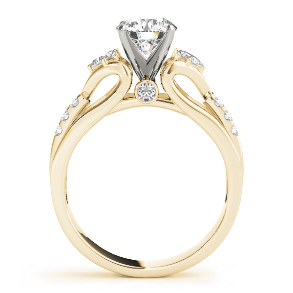 Three Stone Cathedral Swan Diamond Engagement Ring in Yellow Gold
