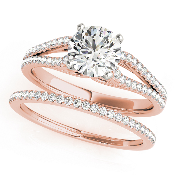petite diamond bridal set with horseshoe split band - Horseshoe Wedding Rings