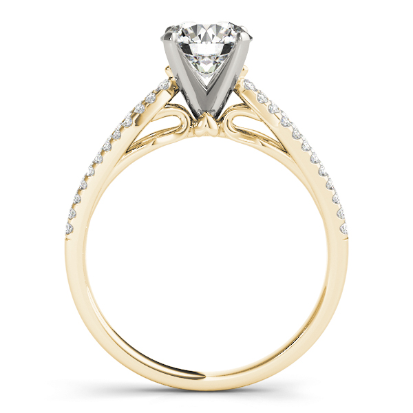 Petite Diamond Engagement Ring with Kite Shaped Split Band in Yellow Gold