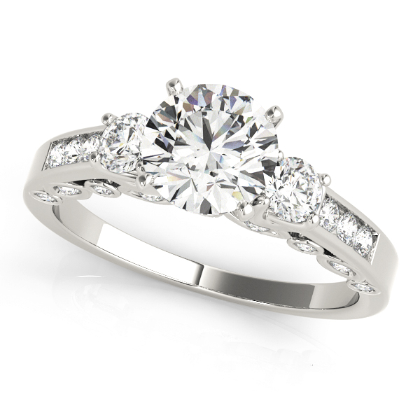 Three Stone Diamond Swing Engagement Anniversary Ring