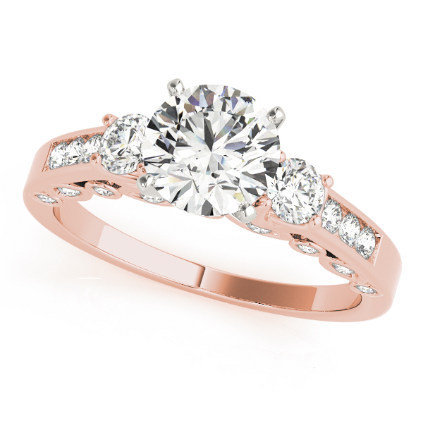 Three Stone Diamond Swing Bridal Set in Rose Gold