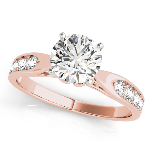 Classic Tapered Cathedral Diamond Bridal Set in Rose Gold