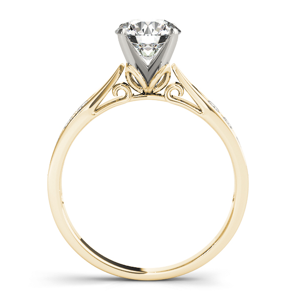 Classic Tapered Cathedral Diamond Engagement Ring in Yellow Gold