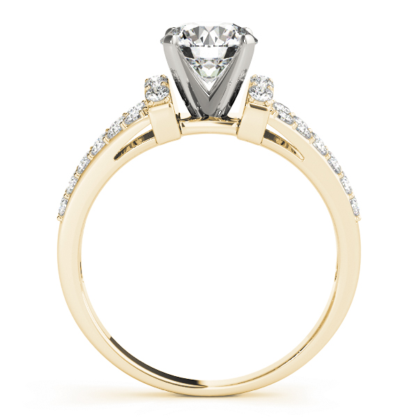 Petite Split Band Diamond Engagement Ring in Yellow Gold