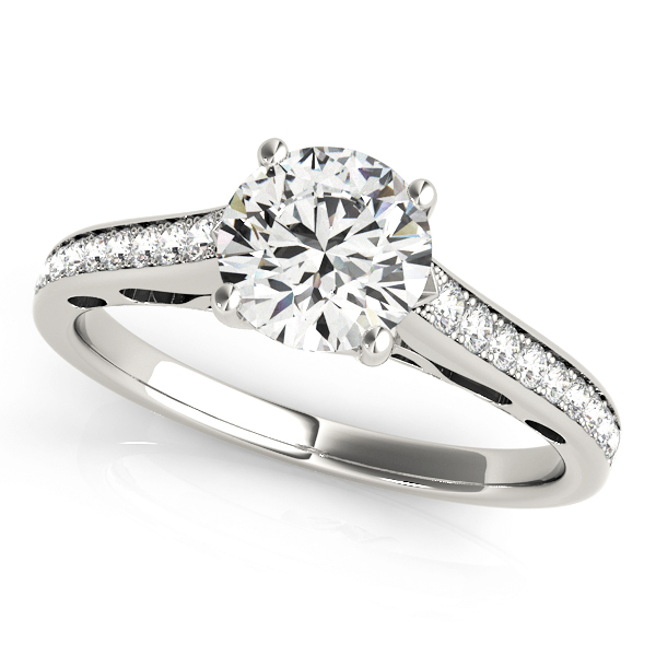 Classic Cathedral Diamond Engagement Ring with Filigree Design