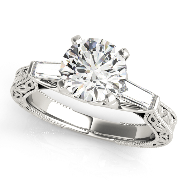 Engraved Filigree Baguette Diamond Engagement Ring