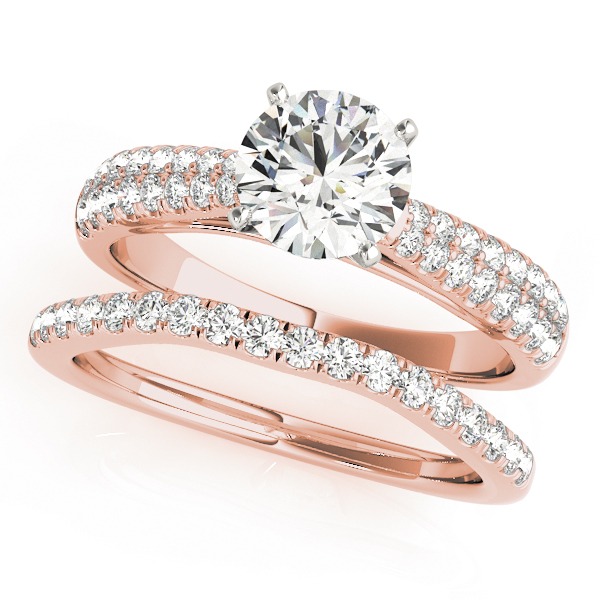 Graduated Cathedral Double Row Diamond Bridal Set in Rose Gold