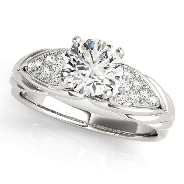 Cluster Diamond Embossed Braid Engagement Ring
