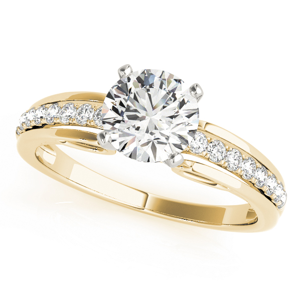 Diamond Cathedral Engagement Ring in Yellow Gold