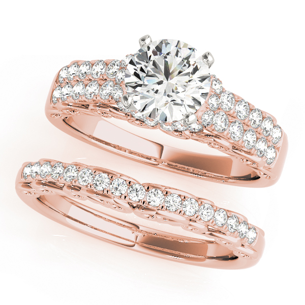Filigree Double Row Diamond Bridal Set in Rose Gold