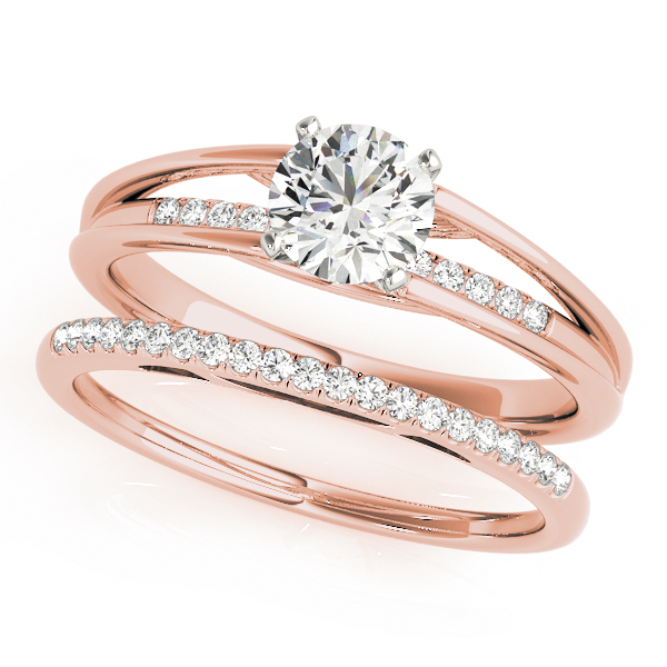 Petite Diamond Split Band Bridal Set in Rose Gold