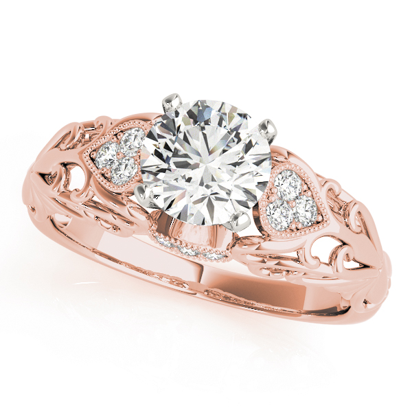 Filigree Floral Diamond Bridal Set in Rose Gold