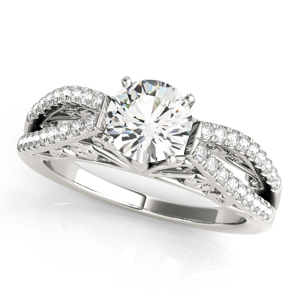 Split Diamond Filigree Engagement Ring