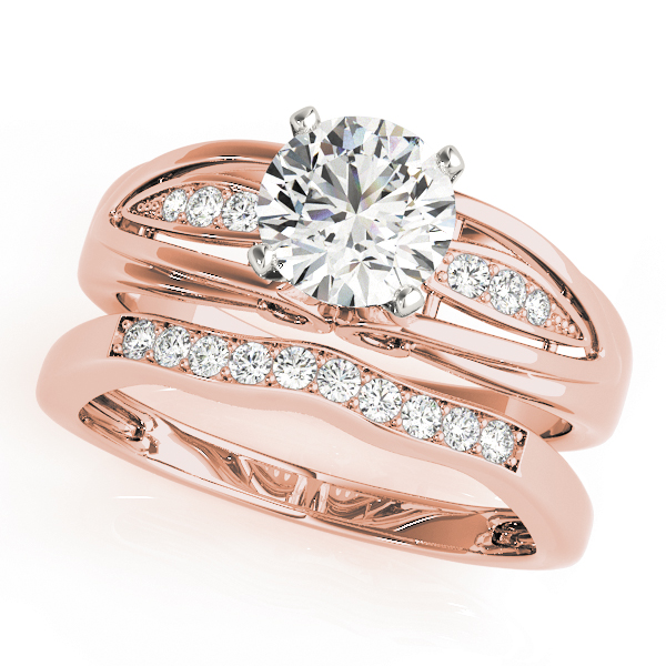 Diamond Pave Bridal Set in Rose Gold