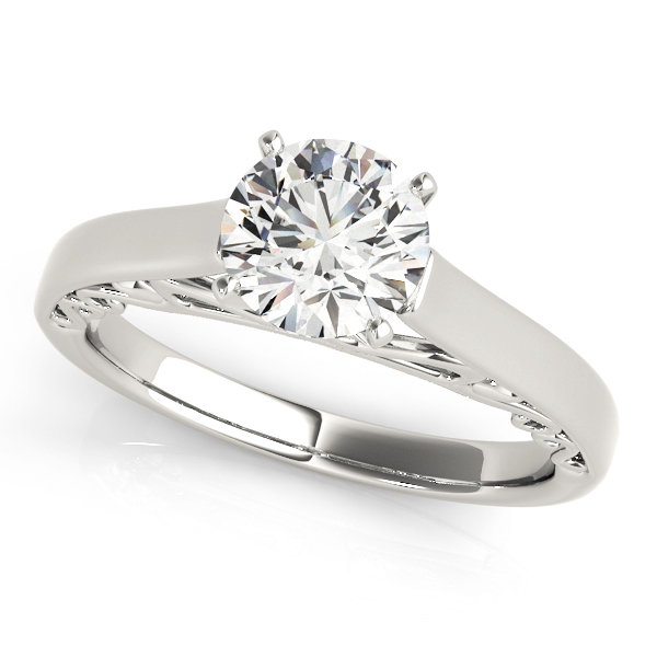 Cathedral Filigree Solitaire Engagement Ring in Platinum