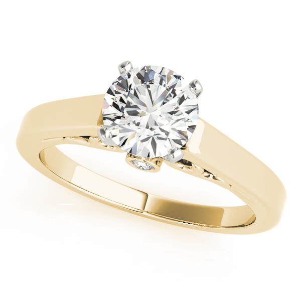 Classic Cathedral Solitaire Engagement Ring with Filigree in Yellow Gold