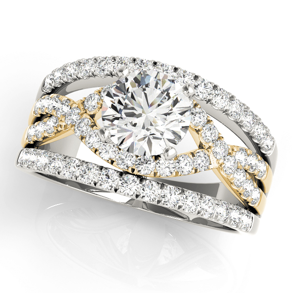 Intertwined Triple Band Engagement Ring Yellow Gold