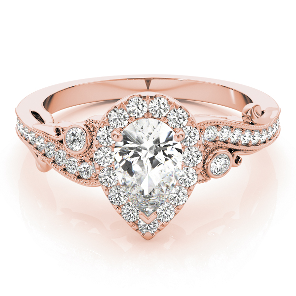 Pear Halo Diamond Filigree Swirl Engagement Ring in Rose Gold